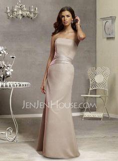 Bridesmaid Dresses - $100.99 - Nice Sheath Strapless Floor-Length Chiffon  Satin  Charmeuse Bridesmaid Dress with Ruffle (007001790) http://jenjenhouse.com/pinterest-g1790