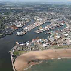 Arial view of Aberdeen Beach, the village of Footdee and Aberdeen Harbour.