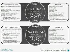 ARTSEA CHIC Printables   FREE 32oz. Mason Jar Homemade Laundry Detergent Labels {click through for link to download}