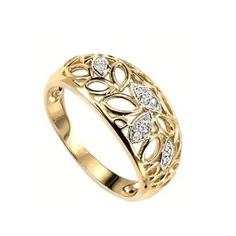 Yellow Gold Filligree Diamond Ring