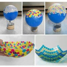 Here is another DIY project to make a button bowl out of a balloon. Isn't that unique and cute? Simply inflate the Button Bowl Kids Crafts, Cute Crafts, Creative Crafts, Crafts To Do, Easy Crafts, Craft Projects, Arts And Crafts, Cute Diy Crafts For Your Room, Button Crafts For Kids