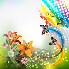 XOO Plate :: Summer Rainbow Butterfly Abstract Background - Flowers, bubbles and butterflies Summer abstract vector background - Ai format.