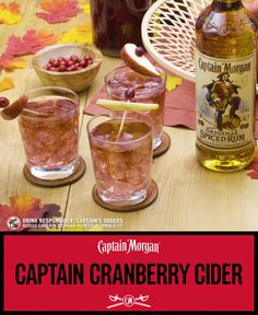 Fall means cranberry. Captain means fun. Put them together and you get fall fun.  Captain Cider Recipe (1 serving): 1 oz Captain Morgan Original Spiced Rum 3 oz Pumpkin beer 1 oz Ginger beer Get more rum recipes at  https://us.captainmorgan.com/rum-cocktails/?utm_source=pinterest&utm_medium=social&utm_term=fall&utm_content=cranberry_cider_hero&utm_campaign=recipe
