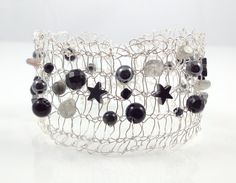 Knitted wire bracelet, silver wire with black & grey semi-precious stones, by Polly-A Jewellery