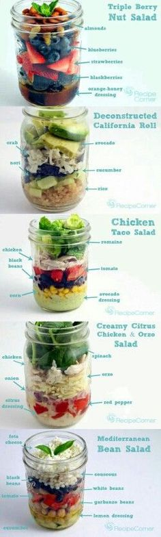 Mason Jar Salads: Perfect to meal prep for every lunch this week! Mason Jar Salads: Perfect to meal prep for every lunch this week!