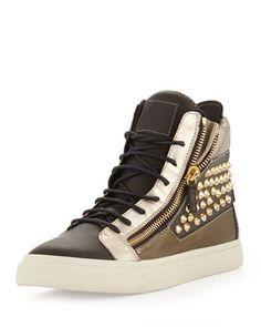 Men's Metallic Stud Double Zip High-Top Sneaker by GIUSEPPE ZANOTTI at Neiman Marcus.