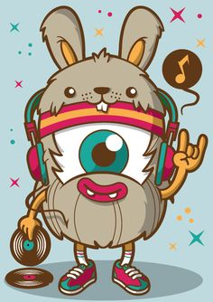 DJing character collection by Rubens Cantuni, via Behance