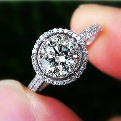 Diamond Engagement Ring Semi mount setting -14K white gold - .50 carat Round - Double Halo - Pave - Antique Style - Weddings- Luxury- Brides