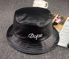 5fe61069ac8 black white fisherman hat bob chapeau boonie fishing bucket cap vintage hip  hop PU leather summer bucket hat for men women