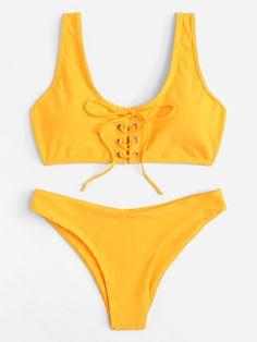 48ce371808c45 Shop Lace-Up Plain Bikini Set online. SHEIN offers Lace-Up Plain Bikini Set    more to fit your fashionable needs.
