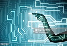 Stock Photo : hand touching light projection of microchip