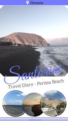 Santorini Travel Diary - Landing in Greece, discovering Perissa Beach north of Santorini island in Greece.  #Beach #Santorini #Travel #Greece #Europe #TravelDiary