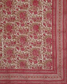 Oblong Tablecloth in Red Rose of Ooty Design (150 X 225cm)
