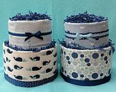 Set of 2 Baby Boy 2-Tier Diaper Cakes Nautical Whale Shower Decorations or Centerpieces