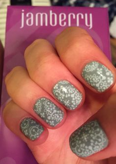 One of my jamicures!!! Jamberry lacquer-ash-and the wrap on top-whisper- loving the combo!!