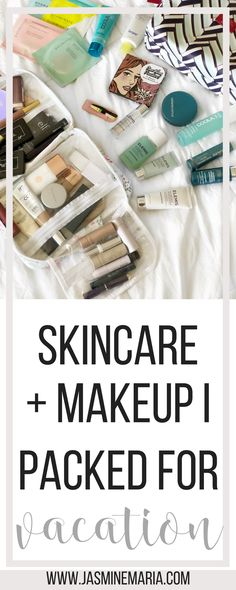 Skincare Plus Makeup I Packed for Vacation #vacationskincare #travelmakeup #travelskincare #beautytips #skincaretips