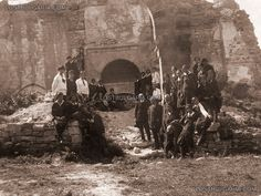 "A group of students and teachers Tzarevetz - near the ruins of the church ""St. Paraskeva"" 1927."