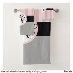 Pink and white bath towel set Spa Towels, Bathroom Towels, Bath Towel Sets, Luxury Bath, Print Design, Europe, Textiles, France, Pink