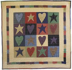 Hearts and Stars applique machine embroidery quilt pattern
