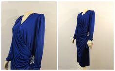 Vintage Dress Filligree Plus Size Royal by Plus Size Vintage Dresses, Plus Size Cocktail Dresses, 30s Fashion, 80s Dress, Blue Satin, Sequin Dress, Vintage Outfits, Wrap Dress, Sequins