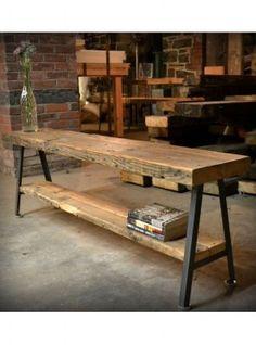 tavolo consolle big wood in legno massello e ferro