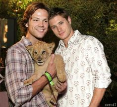 jensen ackles and jared padalecki with a baby lion!! aw. :'D  -touchgasm