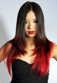 Hottest Red Ombre Hair Color Ideas – Best Hair Color Trends 2017 – Top Hair Color Ideas for You Black Hair With Red Highlights, Black Hair Ombre, Red Brown Hair, Hair Color Highlights, Red Hair Color, Dark Brown, Dark Hair, Highlights 2017, Peekaboo Highlights