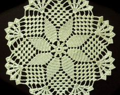 Turquoise crochet doily with hearts No.38 by DoiliesLaceCrafts
