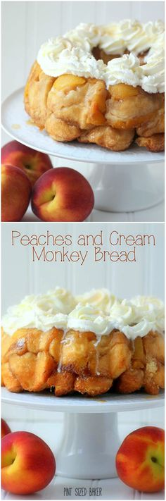 I love this Fresh, Sweet Peaches stuffed into this Peaches and Cream Monkey Bread! It's perfect for a fun breakfast treat! Brunch Recipes, Sweet Recipes, Dessert Recipes, Breakfast Recipes, Just Desserts, Delicious Desserts, Yummy Food, Scones, Croissants