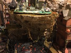 Lemax spookytown village display with woodland scenics products