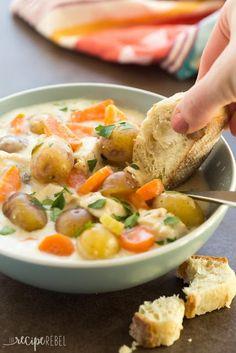 Slow Cooker Garlic Parmesan Chicken Stew | KITCHEN MOM'S