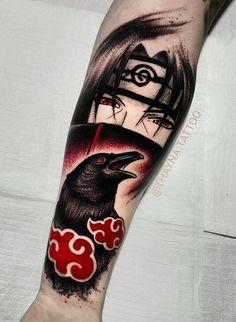 It happens when one Tatto Itachi Badass Tattoos, Arm Tattoos, Body Art Tattoos, Sleeve Tattoos, Tattos, Itachi Uchiha, Shikamaru, Naruto Tattoo, One Piece Tattoos