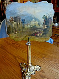 Victorian candle shield with oil painting signed: Peteroboro. Henry Hooper metal stand for sale at More Than McCoy at http://www.morethanmccoy.com