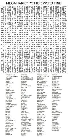 MEGA HARRY POTTER WORD FIND by Kinky-chichi on DeviantArt printables printables for adults worksheet kindergarten birthday printable birthday printable cards Harry Potter World, Harry Potter Word Search, Harry Potter Thema, Theme Harry Potter, Harry Potter Birthday, Harry Potter Love, Harry Potter Fandom, Harry Potter Games, Harry Potter Craft