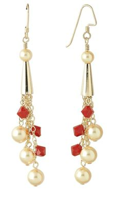 Crystal Beads and Pearls, Metal Cone, Chain Earrings from firemountaingems.com