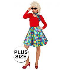 Grote maat gekleurde rok voor dames. Lichtblauwe rok met gekleurde stippen voor dames. Inclusief sjaaltje. Rock And Roll Girl, Rock N Roll, Elvis Presley, Bunt, Dame, Snow White, Costumes, Disney Princess, Character