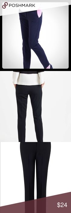 NWT- Marella Zenobia Slim Leg Trousers, Black Bolster your smart new season wardrobe with these Zenobia slim leg trousers from Marella. Composed of a soft, stretch-finish material, these classic trousers come in a slim fit at the waist and feature belt loops and no button or zipper closure, just pull them on like leggings for comfort. Style with a clean cut shirt and heels for a sophisticated profile. Size XL Super Stretchy Zenobia Pants Trousers