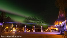 The Northern Lights and the Arctic Circle line at Santa Claus Village in Rovaniemi in Lapland Santa Claus Village, Santa's Village, Helsinki, Lapland Finland, Arctic Circle, Travel Videos, Northern Lights, Places To Go, Landscapes