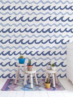 Swell Wallpaper in Byron. Swell is a pattern co-designed by Aimée Wilder + Mowgli Surf www.mowglisurf.com