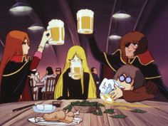 Beer for everybody! Emeraldas, La-Miime, Harlock and Tochiro have a party