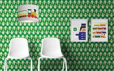 non-woven wallpaper Trains Eames, Train, Etsy, Inspiration, Wallpaper, Kids, Design, Furniture, Home Decor