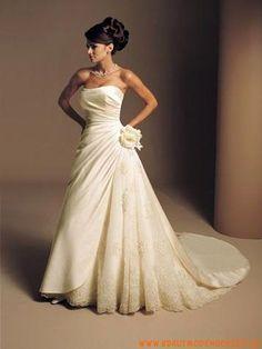 Elegantes und wunderschönes Brautkleid aus Satin und Organza A-Line mit Blumen kaufen online 2012