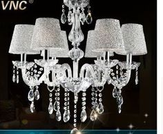 (179.99$)  Buy here  - EMS FREE SHIPPING Pendant Lights crystal - 6 head silver lampshade European contracted crystal lamp, crystal pendant lamp