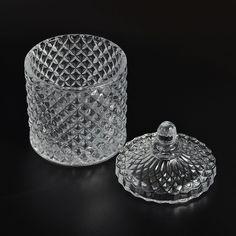 Home decoration unique design glass candle jar with lid