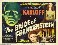 Lobby card for The Bride of Frankenstein (1935) starring Boris Karloff, Colin Clive, Ernest Thesiger and Elsa Lanchester.