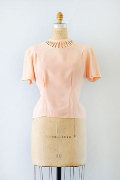 vintage 1940s pink open neckline rayon blouse