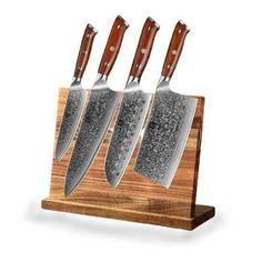 CUT YOUR KITCHEN INGREDIENTS MORE EASILY TO OPTIMIZE YOUR TIME IN THE KITCHEN WITH THIS SET OF 5 CHEF KNIVES. THIS IS A SET OF 4 KITCHEN KNIVES WITH A 67 LAYER KNIFE HOLDER. MAKE COOKING EASIER AND FASTER. Chef Knife Set, Knife Sets, Chef Knives, Knife Holder, Cooking Ingredients, Knife Block, Kitchen Knives, Layers, Layering