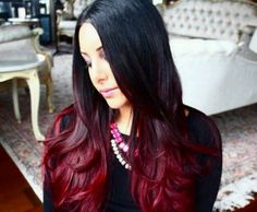 I love this ombre black from top deep red on the bottom