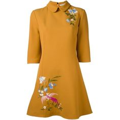 Vivetta Floral Embroidered Shift Dress (£420) ❤ liked on Polyvore featuring dresses, vivetta, embroidered flower dress, shift dress, yellow dress and vivetta dress
