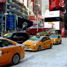 Snowy NYC #taxis #winter #city